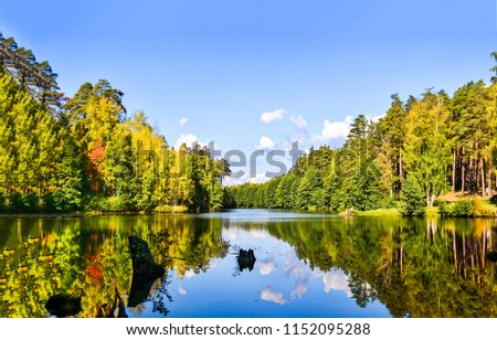 Forest river reflection autumn landscape. Autumn forest river water panorama. Forest river reflection in autumn #1152095288