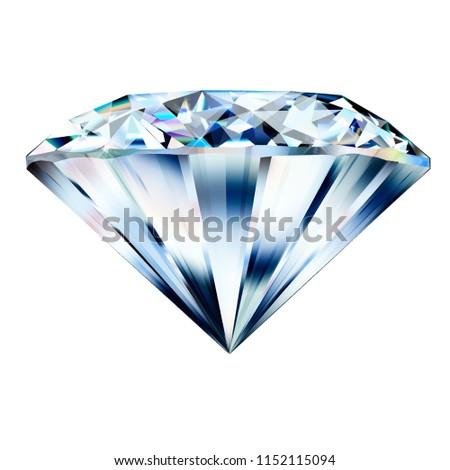 Beautiful diamond. Insulated  gem stone on white background.