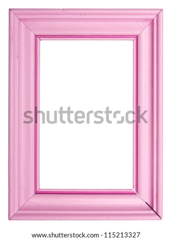 Old pink frame isolated on white background