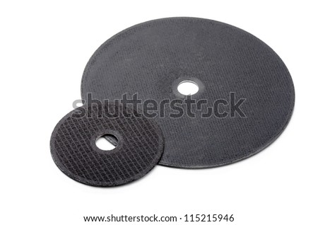 Pair of universal cutting wheels isolated on white #115215946
