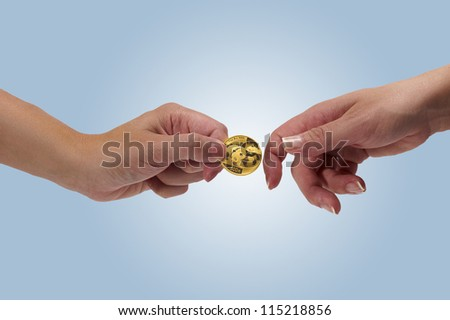 Woman holding coin in hand #115218856
