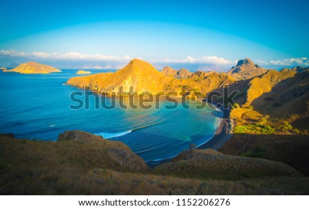 Landscape view from the top of Padar island in Komodo islands, Flores, Indonesia. #1152206276