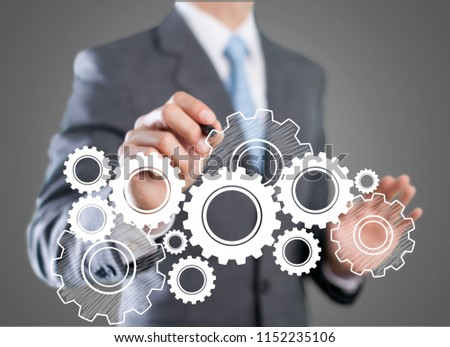 Businessman working on digital chart, business strategy #1152235106