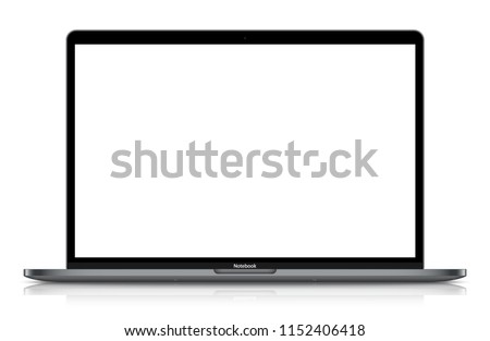 Realistic Dark Grey / Black Notebook with Blank Screen And Shadow. 15 inch Scalable Laptop. Can Use for Project, Presentation. Blank Device Mock Up. Separate Groups and Layers. Easily Editable Vector. #1152406418