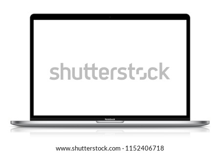 Realistic Silver / White Notebook with Blank Screen And Shadow. 15 inch Scalable Laptop. Can Use for Project, Presentation. Blank Device Mock Up. Separate Groups and Layers. Easily Editable Vector. #1152406718