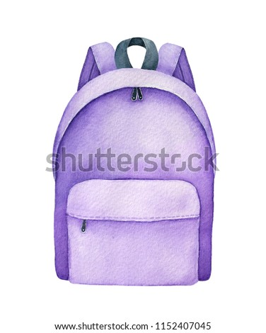 Lilac school backpack watercolour illustration. One single object, standing, closed, front view. Hand painted water colour graphic drawing on white background, cutout clip art element for design.