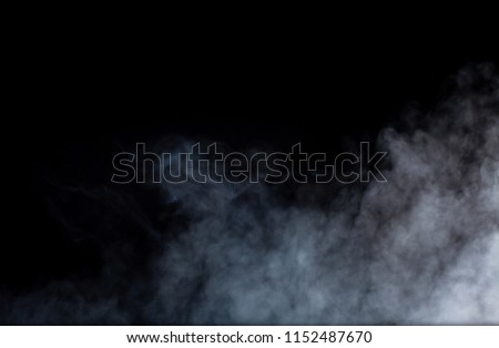 Smoke or fog steam set on black color background . Hazy steam curls for decorative special effect . Cigarette fumes or dry ice Smoking design. #1152487670