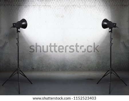 photo studio in old grunge room with concrete wall, urban background #1152523403