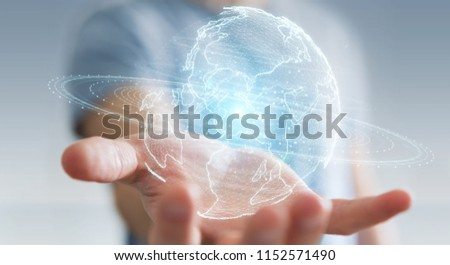 Businessman on blurred background using globe network hologram with America Usa map 3D rendering #1152571490