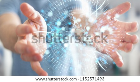 Businessman on blurred background using digital eye surveillance hologram 3D rendering #1152571493