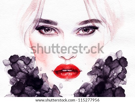 Woman face. Hand painted fashion illustration