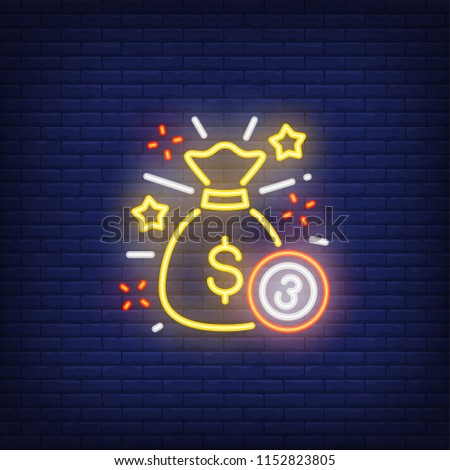 Neon icon of jackpot. Sack of money and ball with figure of three on brick wall background. Lottery game concept. Can be used for neon signs, posters, billboards, banners.