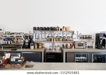 Modern coffee shop interior, no people Royalty-Free Stock Photo #1152931883