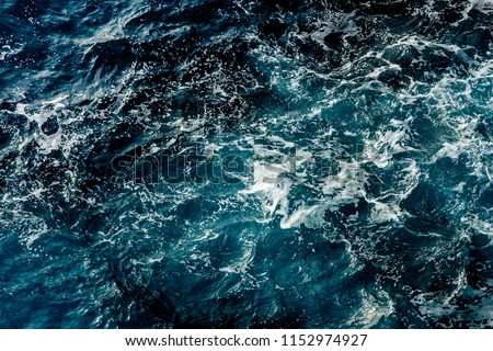 Blue sea water surface, ocean waves pattern background #1152974927