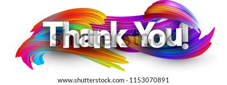 Thank you poster with spectrum brush strokes on white background. Colorful gradient brush design. Vector paper illustration.  #1153070891