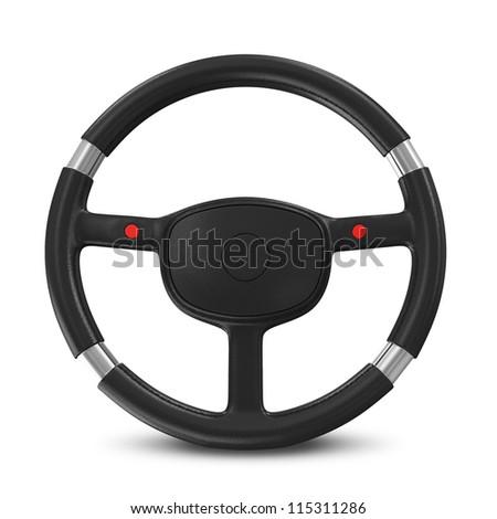 Black Steering Wheel on white background #115311286