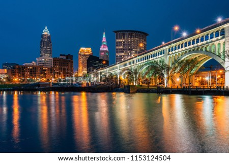 The Cleveland skyline at night, from Heritage Park, in Cleveland, Ohio