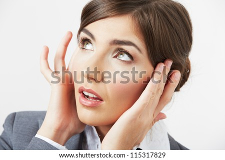 Close up Portrait of woman with headache isolated on white #115317829