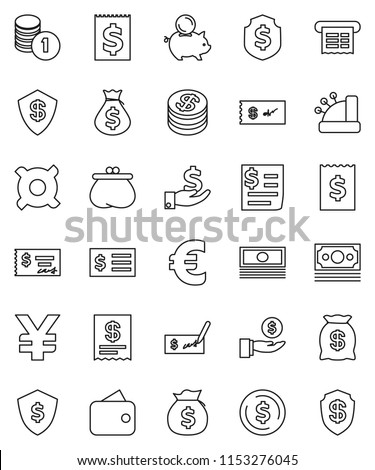thin line vector icon set - dollar coin vector, cash, money bag, piggy bank, investment, stack, check, receipt, shield, any currency, euro sign, yen, wallet, cashbox #1153276045