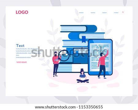 library of encyclopedia, e-learning, media library or web archive Concept for web page, banner, presentation, social media. Vector illustration Technology and literature, Dictionary, team work.