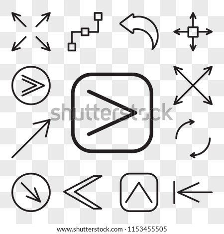 Set Of 13 transparent editable icons such as Right arrow, Back, Up Left Diagonal, Spin, Expand, Fast forward, web ui icon pack, transparency set #1153455505