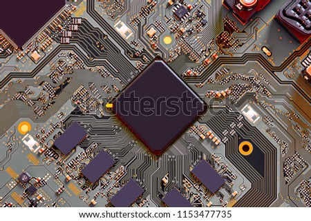 Electronic circuit board close up. #1153477735