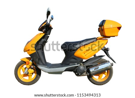 yellow scooter isolated on white background witn clipping path #1153494313