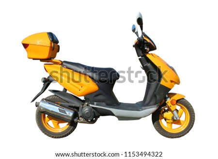 yellow scooter isolated on white background witn clipping path #1153494322