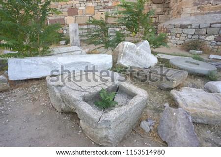 Enez (Ainos) ruins by the fortress walls, Edirne, Turkey. #1153514980