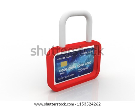3d illustration credit card with lock  #1153524262