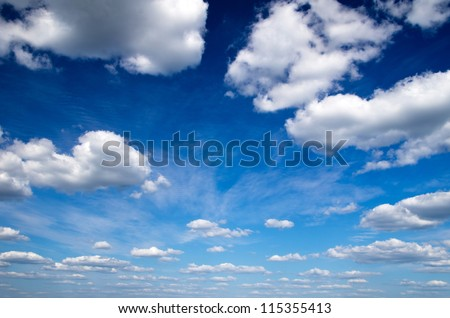 blue sky with clouds closeup #115355413