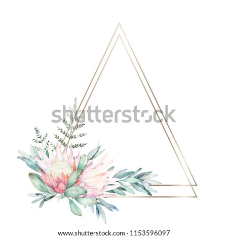 Watercolor greenery geometric frame with flower, eucalyptus and fern. Hand drawn illustration