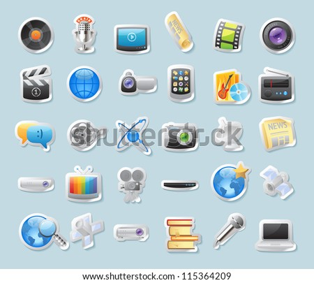 Sticker button set. Icons for media. Raster version. Vector version is also available.