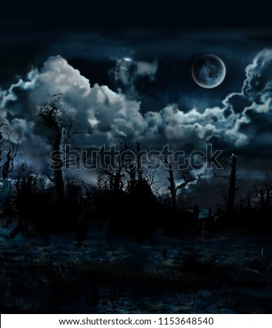 digital illustration dark forest and full moon ideal for halloween or horror illustrations #1153648540