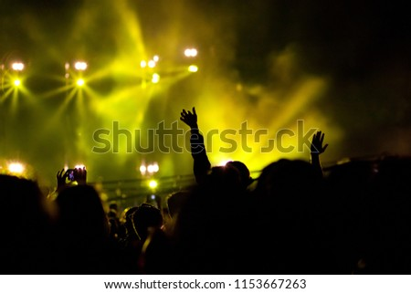 cheering crowd with raised hands at concert - music festival #1153667263