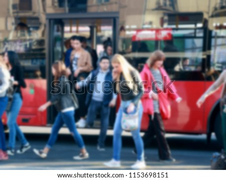 People exit the buses,blur #1153698151