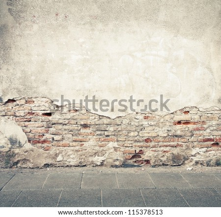 Aged street wall background, texture #115378513