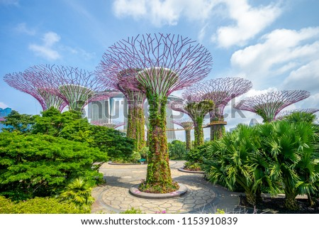 Landscape of Gardens by the Bay in singapore Royalty-Free Stock Photo #1153910839