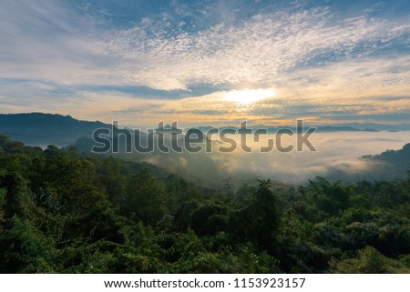 Mountain landscape with Mist at morning, Baan JABO viewpoint. Mae Hong Son, Baan JABO one of the most amazing Mist in Thailand. #1153923157