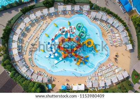 drone view to waterloo with colored elements in aqua park  #1153980409