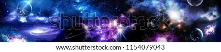 Space scene with planets, stars and galaxies. Panorama. Horizontal view for a glass panels (skinali). Template banner #1154079043