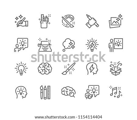 Simple Set of Creativity Related Vector Line Icons. Contains such Icons as Inspiration, Idea, Brain and more. Editable Stroke. 48x48 Pixel Perfect. Royalty-Free Stock Photo #1154114404