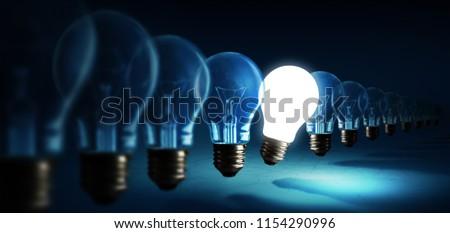 Lightbulbs on blue background, idea concept #1154290996