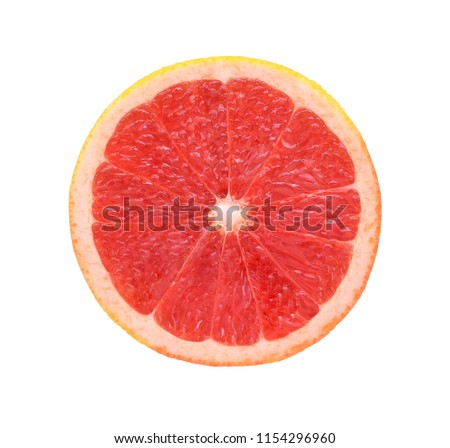 slice of grapefruit isolated on white background with clipping path #1154296960