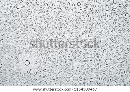 Water drops or rain droplets on glass. #1154309467