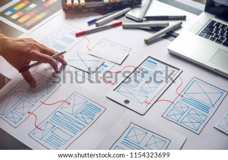 ux Graphic designer creative  sketch planning application process development prototype wireframe for web mobile phone . User experience concept. #1154323699