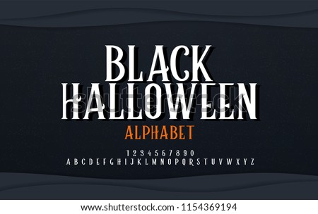 Halloween scary alphabet font. Typography black halloween logo designs concept. vector illustration #1154369194