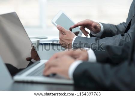 closeup.businessman working on laptop #1154397763