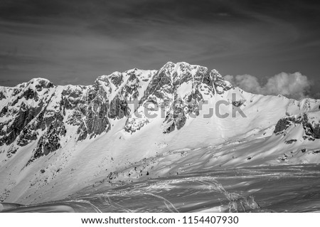 Snow-capped peaks in a sunny day in a black an white photography. A panoramic view on the mount Sestier from the North shoulder of mount Cornor. Alpago mountain range, Belluno, Italy