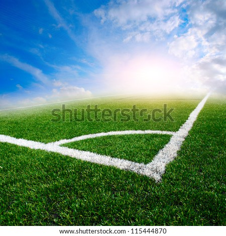 green soccer field with the blue sky #115444870